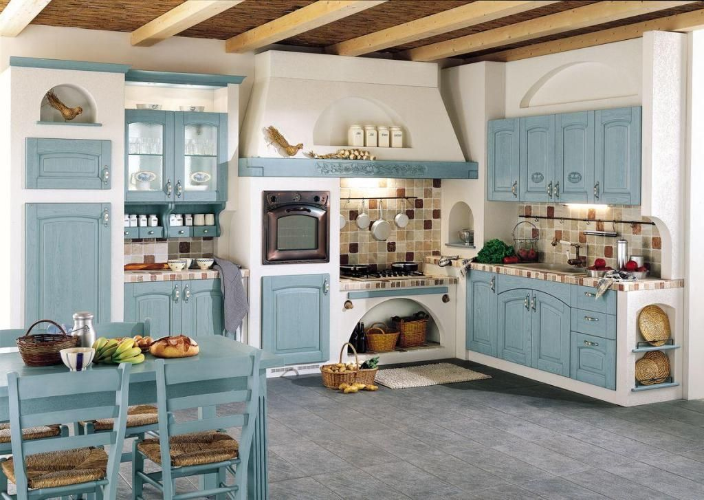 mavi renk mutfak dekorasyonu